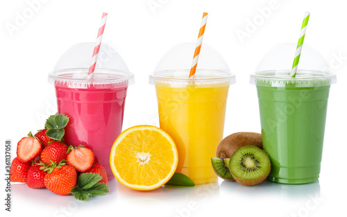 Fototapeta Fresh fruit juice smoothies drink drinks cups healthy eating isolated on white obraz