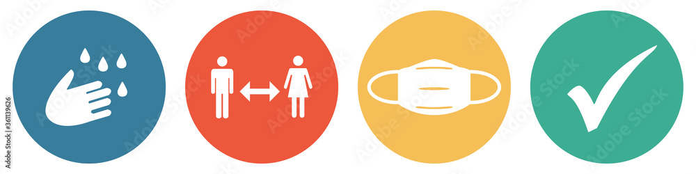 Fototapeta Bunter Coronavirus Banner mit 4 Buttons: Hände waschen, Abstand halten, Maske tragen und Häkchen