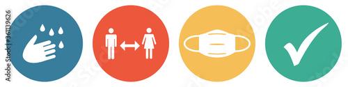 Fototapeta Bunter Coronavirus Banner mit 4 Buttons: Hände waschen, Abstand halten, Maske tragen und Häkchen obraz