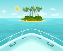 The Boat Approaches A Tropical...