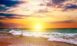 Bright sun rise over the sea