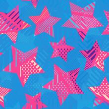 Pink Star Seamless Pattern.