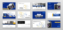 Template For Presentation Of Photos From The Camera. Blue, Yellow Design Elements On White Background. Business Infographic. Use In Leaflet, Flyer, Corporate Report, Marketing, Banner, Annual Report
