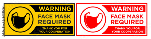 Fototapeta Face mask required sign. Horizontal warning signage for restaurant, cafe and retail business. Illustration, vector obraz