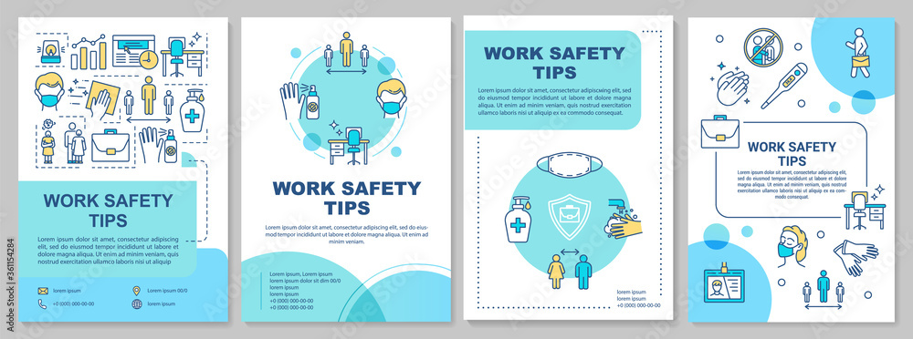 Fototapeta Work safety tips brochure template. Covid protection in workplace. Flyer, booklet, leaflet print, cover design with linear icons. Vector layouts for magazines, annual reports, advertising posters