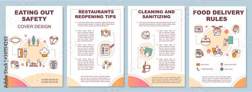 Obraz Eating out safety brochure template. Contactless food delivery. Flyer, booklet, leaflet print, cover design with linear icons. Vector layouts for magazines, annual reports, advertising posters - fototapety do salonu
