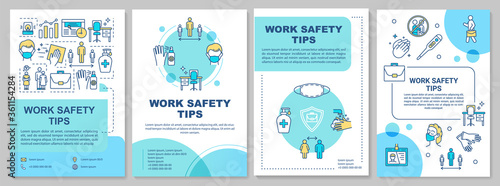 Work safety tips brochure template. Covid protection in workplace. Flyer, booklet, leaflet print, cover design with linear icons. Vector layouts for magazines, annual reports, advertising posters © bsd555