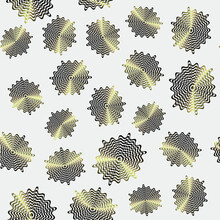 Seamless Pattern With Abstract Bronze Oval Op Art Ovals On A White Background, Modern Concept For Your Design.