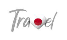 Travel Japan Love Heart Flag. ...
