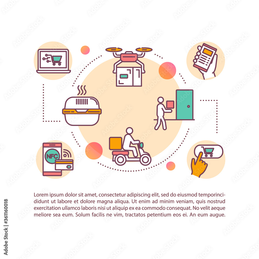 Fototapeta Food delivery concept icon with text. PPT page vector template. Order food online from restaurants. Contactless delivery. Brochure, magazine, booklet design element with linear illustrations