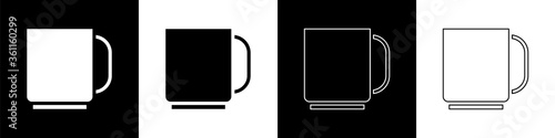 Fototapeta Set Coffee cup icon isolated on black and white background