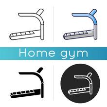 Treadmill Icon. Linear Black A...