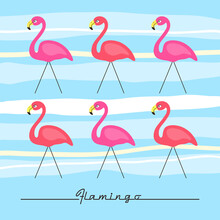 Retro Hand Drawn Pink Flamingo...
