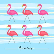Retro Hand Drawn Pink Flamingo Card. Vector Illustration Background. Fashion Print.