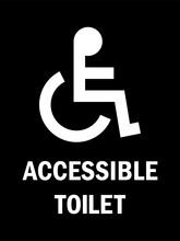Accessible Toilet Sign. White ...
