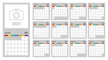 Calendar 2021 Colorful Design, Set Of 12 Vector Wall Planner Calendar Pages On Gray Background. Week Starts On Sunday.