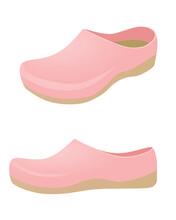 Pink Clogs Shoes. Vector Illustration