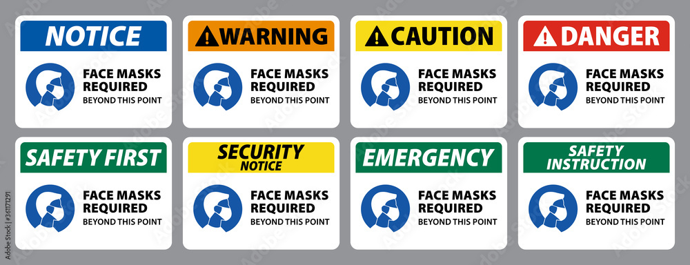 Fototapeta notice, warning, caution, danger sign of face masks required, collection of face covering sign. set of wear face mask sign vector eps10
