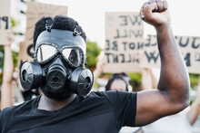 Activist Wearing Gas Mask Prot...