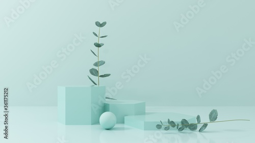 Podium, stand, showcase on pastel light, mint background for premium product with nature plant, leaves Canvas Print