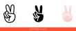 Peace sign hand with fingers icon. Isolated vector sign symbol.