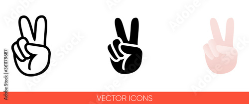 Peace sign hand with fingers icon. Isolated vector sign symbol. Canvas-taulu