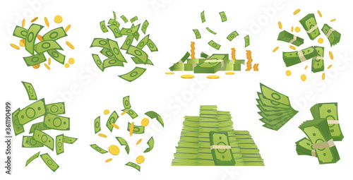 Fototapeta Cartoon money collection. Green banknote and gold coins cartoon vector illustration. Flying and rolls bills, stacks of coins. Dollar rain obraz