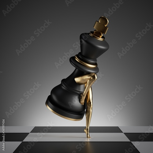 Fotografie, Tablou 3d render, surreal concept, chess game piece, black king object with golden slim