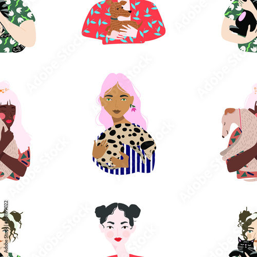 Fototapeta Seamless pattern.  Girls hold their pets in their arms. Hand drawn trendy vector flat illustration.  Design for banner, card, placard, brochure.  Transparent background obraz na płótnie