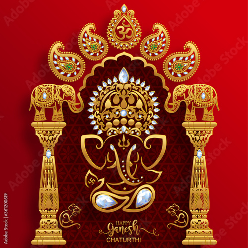 Photo Festival of Ganesh Chaturthi with golden shiny Lord Ganesha patterned and crystals on paper color Background