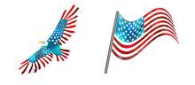 Bald American Eagle And USA Fl...