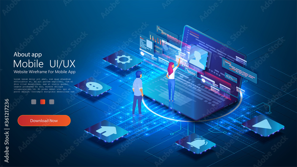 Fototapeta UX / UI design concept  conceptual laptop with a disassembled interface. People interact with parts of the interface. User experience. Flat isometric vector illustration isolated on blue background.