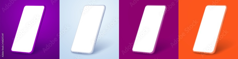 Fototapeta White smartphone display screen in the rotated position on different fashionable and modern backgrounds. Different phone colors purple, white, orange, red. Mockup generic device. UI/UX smartphones set