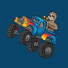 Sloth Riding Monster Truck