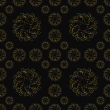 Seamless Pattern, Ornament With Dark Bronze Elements, Concept By Modern Concept For Your Design.