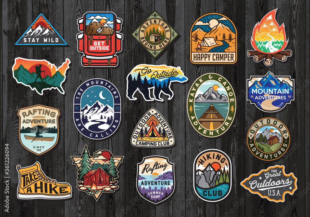 Fototapeta Set of Vintage Outdoor Summer Camp Logo Patches on Wood board. Hand drawn and vector emblem designs. Great for shirts, stamps, stickers logos and labels.
