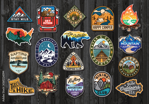 Set of Vintage Outdoor Summer Camp Logo Patches on Wood board. Hand drawn and vector emblem designs. Great for shirts, stamps, stickers logos and labels. - 361226094