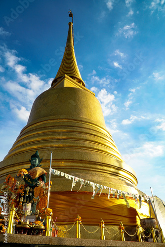 Gold moutain temple in bangkok province Canvas Print