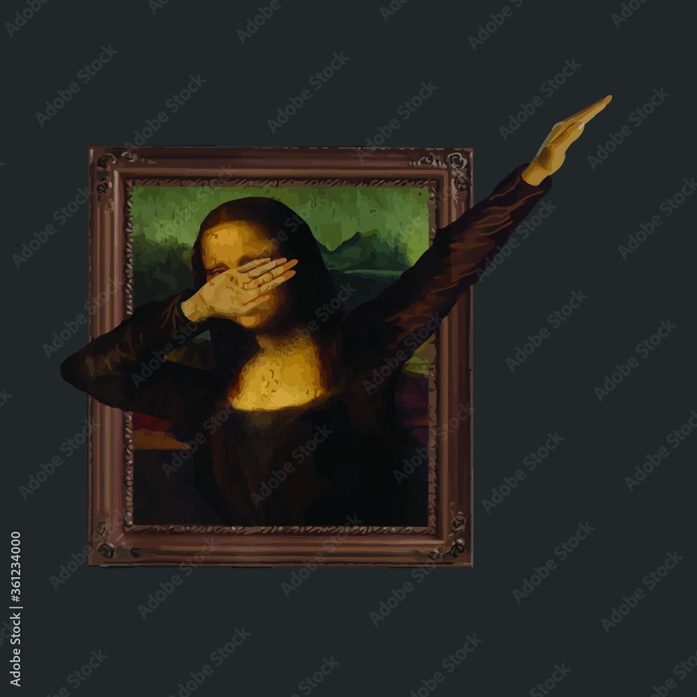 Fototapeta Dabbing Mona Lisa Painting La Gioconda vector design new