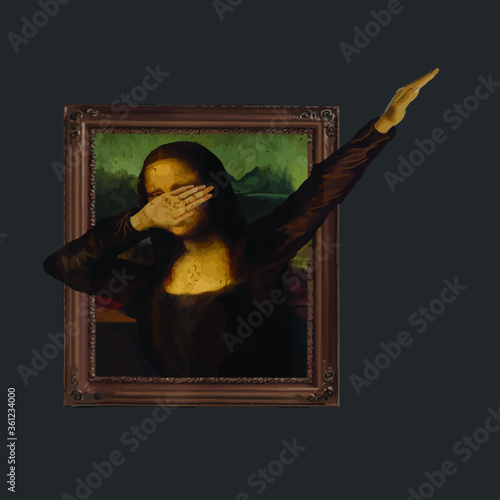 Fototapeta Dabbing Mona Lisa Painting La Gioconda vector design new obraz