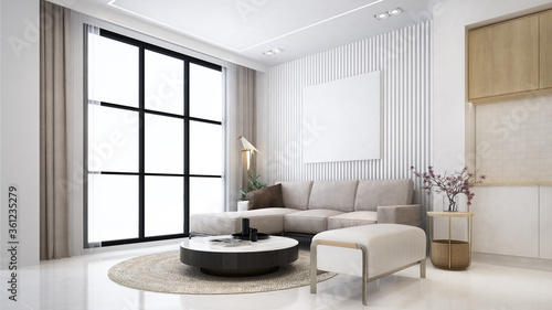 Beautiful minimal living room and dining table  in modern home with double vanit Fototapeta