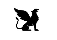 Silhouette Of Griffin With Open Beak And Raised Wing Logo Vector
