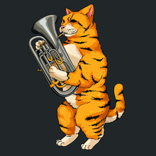 Funny Cat Playing Euphonium Co...