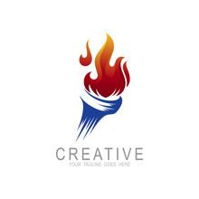 Torch Fire Logo Vector Icon, O...