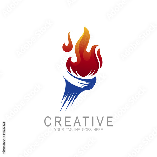 Fotomural Torch fire logo vector icon, Olympic flaming torch logo, sport fire sign,