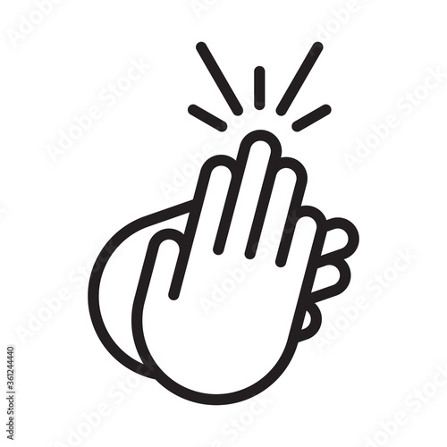Photo applause / audience clapping hands line art icon for apps or website