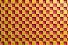 3D Illustration Red And Yellow Checkered Geometric Pattern Of Pyramids. Unusual Chessboard. Decorative Print, Pattern. Square Volumetric Print