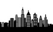 Modern city silhouette skyscrapers and buildings logo vector
