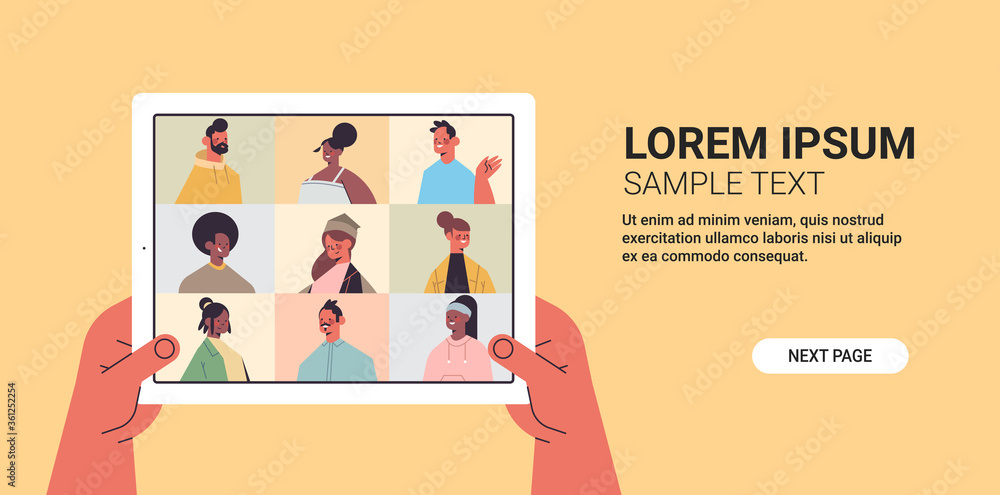 Fototapeta human hands using tablet pc chatting with mix race friends during video call people having virtual live conference communication self isolation concept horizontal copy space vector illustration