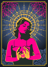 Woman In Love Psychedelic Art Style Poster, Floral Mandala Background, Barbed Wire Nimbus